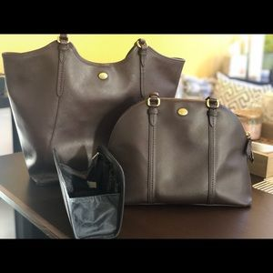 Authentic Coach bag and tote set (Dark Brown)